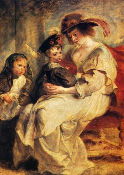 Helene Fourment With Two Of Her Children Claire Jeanne And Francois